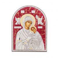 Icoană argint Maica Domnului decorată cu pietre Swarovski