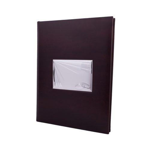album foto din piele cu placa argintata cadou pentru nunta